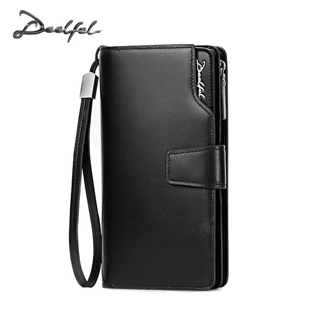 DEELFEL 2017 New Mens Wallets Genuine Leather Coin Wallet Simple Business Long Wallets Men Purse Card Holder Zipper Pocket