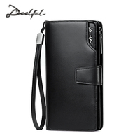 DEELFEL 2017 New Mens Wallets Genuine Leather Coin Wallet Simple Business Long Wallets Men Purse Card Holder Zipper Pocket