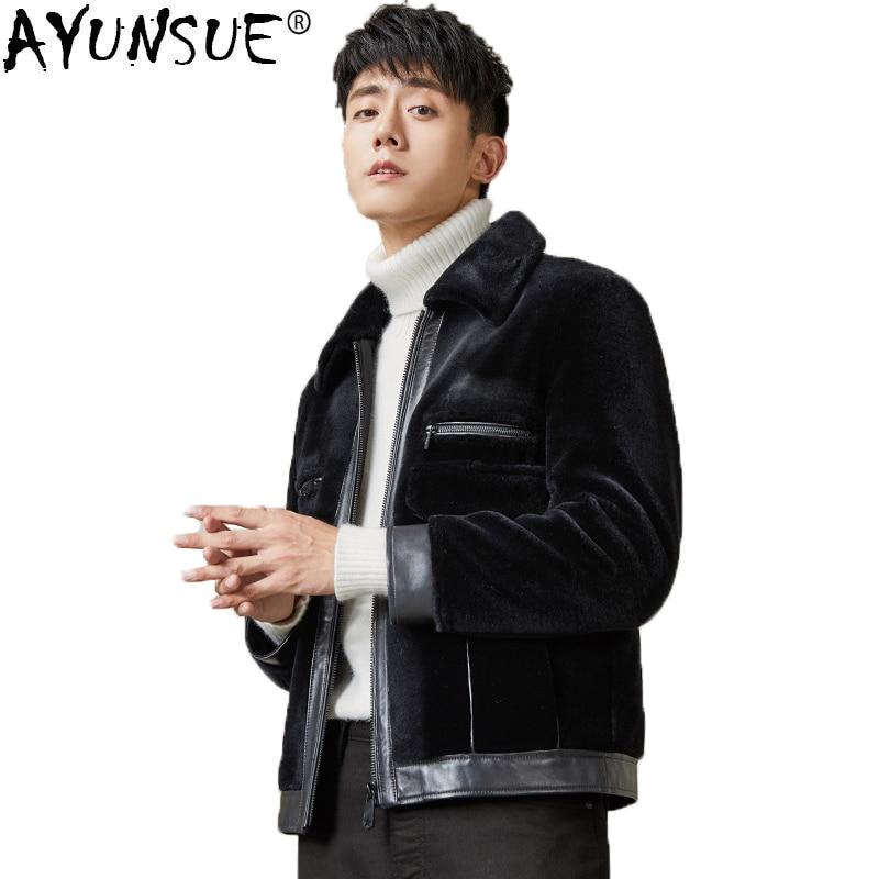 AYUNSUE Winter Jacket Men Real Fur Coat Sheep Shearing Men's Leather Jacket Short Overcoat Luxury Coat Men MG-1800006 KJ1322