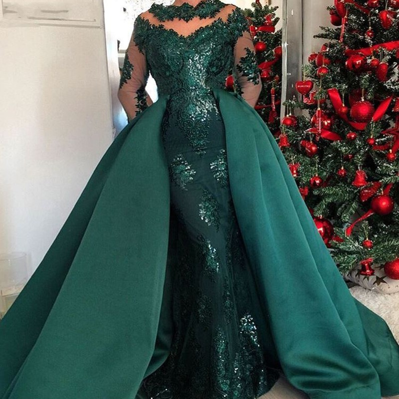 Saudi Arabic Long Mermaid Prom Gowns With Detachable Train Full Sleeves Formal Gowns Green Appliques Robe De Soiree Longue