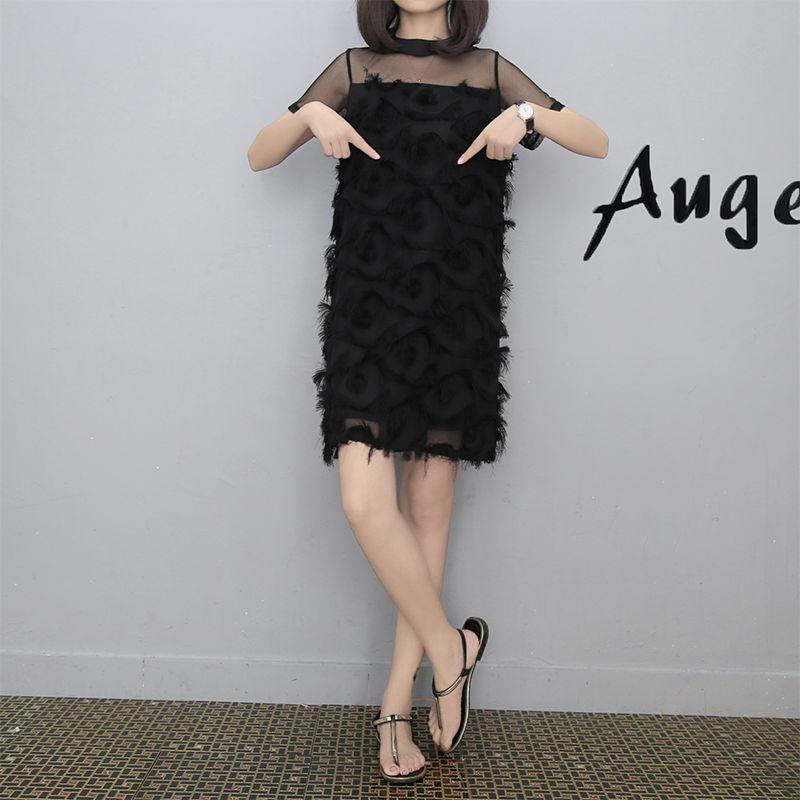 New Summer Women dress Short Sleeve Patchwork Mesh Europe Stand Straight Black Tassel Tide In Feather