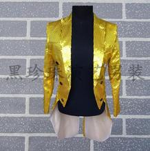 men tuxedo suits designs stage costumes singers mens sequin blazer dance jacket mens formal dress punk performance wear yellow