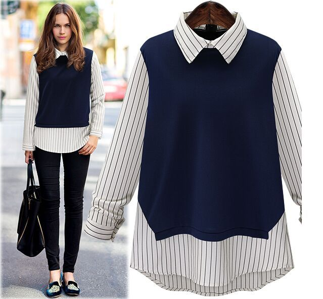 Spring Women Turn-down Collar Full Sleeve T shirts Pullovers Patch Vertical Striped Shirt Tail and Collar