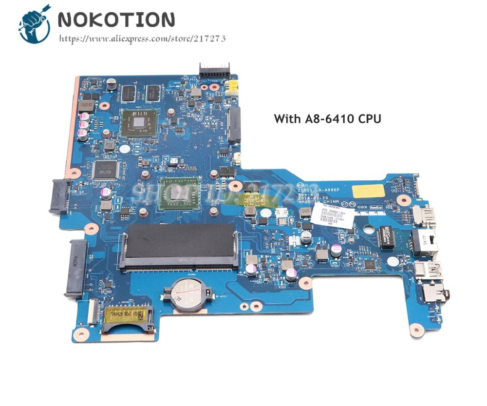 NOKOTION 764269-501 764269-001 For HP 15-G Laptop Motherboard ZSO51 LA-A996P Main Board A8-6410 CPU HD8570M 2GBNOKOTION 764269-501 764269-001 For HP 15-G Laptop Motherboard ZSO51 LA-A996P Main Board A8-6410 CPU HD8570M 2GB