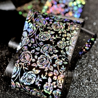 100m Wholesale Nail Transfer Foils Holographic Nail Sticker Large Rose Pattern DIY Nail Art Decals
