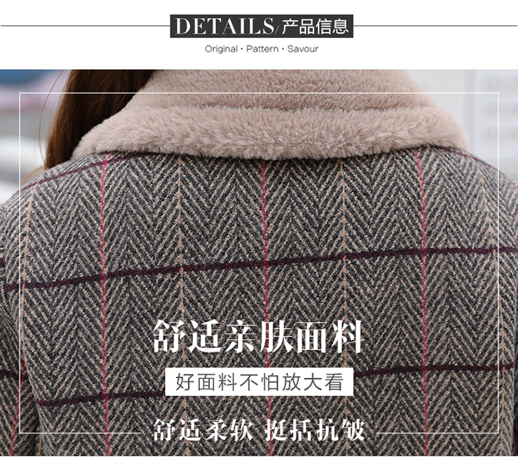 Lamb fur-padded 2018 winter women's new loose-fitting mid-length padded check wool coat, cotton-padded jacket 8