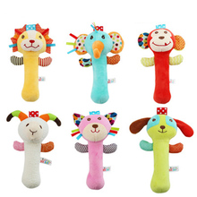 Infant Baby Plush Toy Hand Grasp Teethers Cute Animal Handbell Ring Newborns Early Development Gift