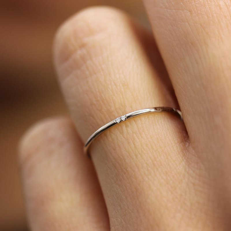 Tisonliz Stacking Thin Rings One Two Three Crystal Rose Gold Silver Dainty Wedding Engagement Minimalist Rings Bague Femme Gifts