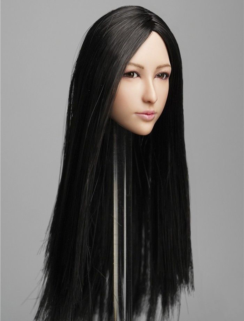 Collectible DR-008 1/6 Scale Asian Female Figure Head Accessory with  Movable Eyes Hair Model for 12 inches Action Figure Body