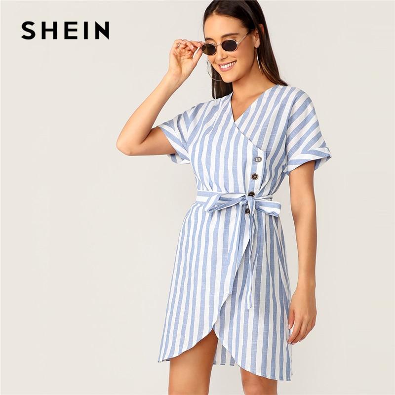 SHEIN Boho/синее платье с застежкой на пуговицы спереди, v-образным вырезом, поясом, Полосатое летнее платье-рубашка, женское платье с коротким ру...