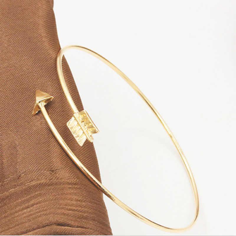 1 sztuk Punk gotycki styl kształt strzałki otwarta regulowana bransoletka mankietowa dla kobiet bransoletka damska bransoletki Pulseiras Bijoux