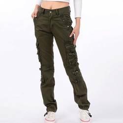 Для женщин Хлопковые Штаны Повседневное брюки карго плюс Размеры 28-38 Демисезонный карманы брюки длинные брюки
