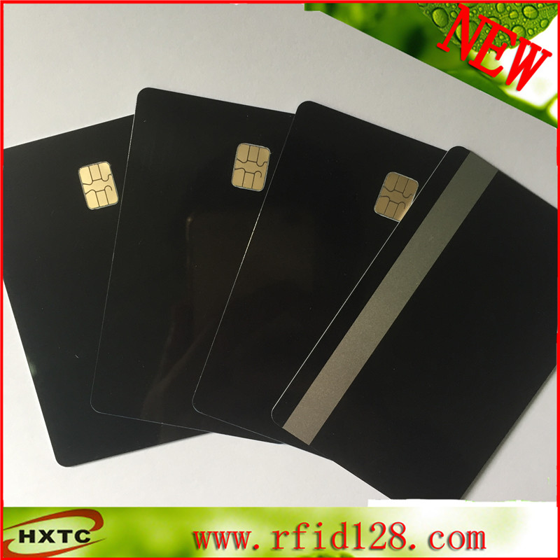 Cantact PVC blank SLE4442 chip black card with 2track sliver magnetic stripe Free shipping 20pcs lot contact sle4428 chip gold card with magnetic stripe pvc blank smart card purchase card 1k memory free shipping