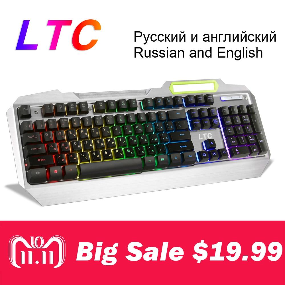 все цены на BIG SALE!!LTC Russian English Layout Mechanical Gaming Keyboard RGB Backlit Full Size Ergonomic Anti-Ghosting Gamer Waterproof