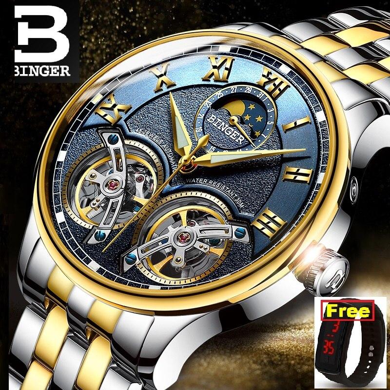 Binger Waterproof Watch Clock Mechanical Skeleton Sapphire Role Luxury Brand Male B-8606M-008