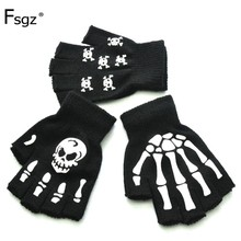 Warm Knitting Gloves For Adult Solid Acrylic Half Finger Glove Human Skeleton Head Gripper Print Cycling Non-slip Wrist Gloves