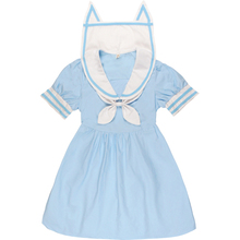 Soft Sister Blue/Pink Cute dresses Japan HARAJUKU Gothic Lolita Navy Style Dress Women Mori Style Fresh Cat Ears Collar OP Dress