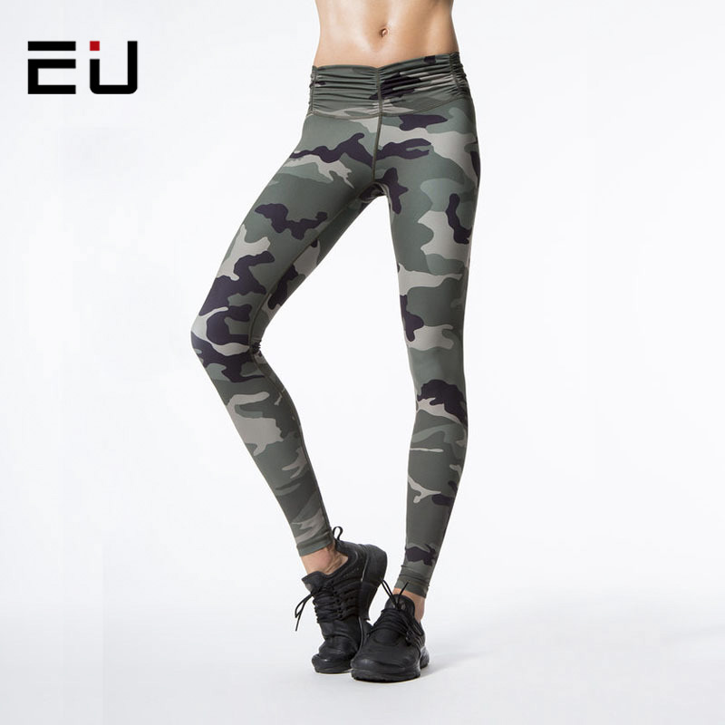 EU 2017 New Arrival Women Fitness High Waist Camo Printed Sporting Leggings For Female Workout Women's Sexy Hip Push Up Pants