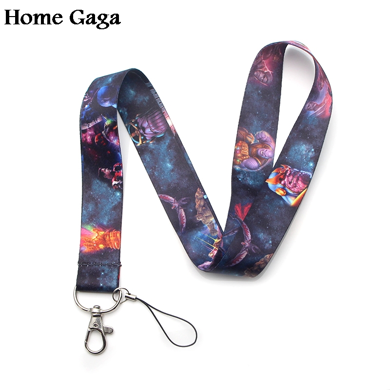 Homegaga Super hero Thanos keychain lanyard webbing ribbon neck strap fabric para badge phone holder necklace accessories D1479