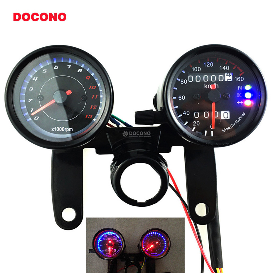 DOCONO Universal Odometer Speedometer Tachometer 13000 RPM LED Back Lights 12V Digital Motorbike Gauge Meter with Bracket
