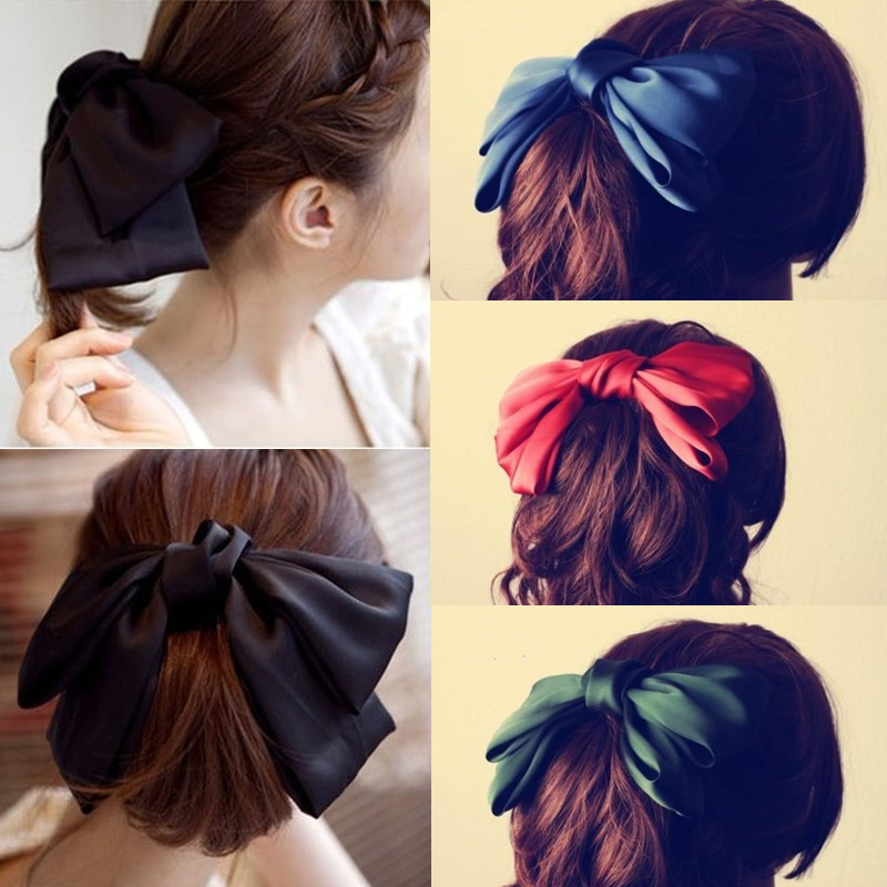 2020 Fashion Big Bow Hairpins Solid Color Red/Bule/Green/Black/Pink Girls Gift Wedding Hair Clips For Women Hair Accessories
