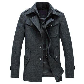 Mens Overcoat Winter Wool Coat Slim Fit Jackets Fashion Outerwear Warm Man Casual Jacket Overcoat Pea Coat Plus Size M-4XL