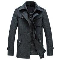Mens Overcoat Winter Wool Coat Slim Fit Jackets Fashion Outerwear Warm Man Casual Jacket Overcoat Pea Coat Plus Size M 4XL