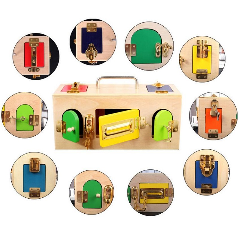 1 ensemble Montessori jouets serrure boîte en bois matériaux sensoriels éducatifs en bois jouets pour enfants bébé enfants jouets - 2