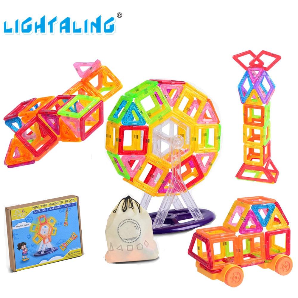Lightaling المصغرة الحجم مصمم المغناطيسي 80/90/110 / 130Pcs بنة مع 1 الجيب التعليمية لعبة طفل هدية عيد الميلاد عيد الميلاد