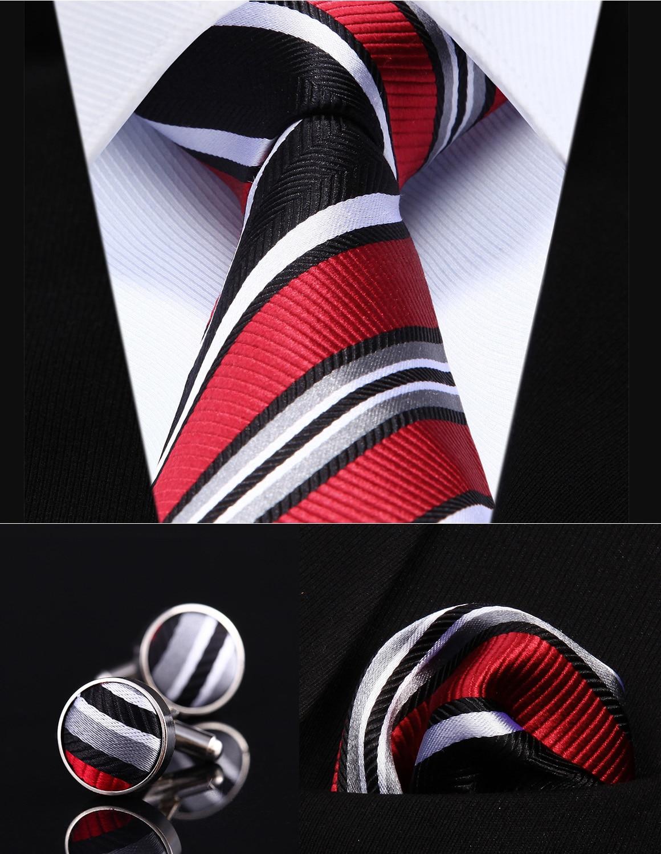 """Party Wedding Classic Pocket Square Tie TZS06L8 Red Black Striped 3.4"""" Silk Men Tie Necktie Handkerchief Cufflinks Set"""