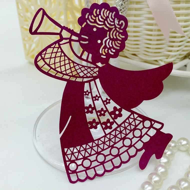 Angel Red Wine Cup Card Laser Engraved Cup Card Wedding Birthday Party Wine Glass Table Decoration Supplies 100pcs  5ZSH056