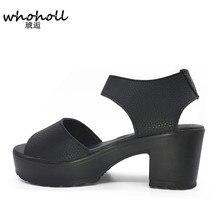 Белые женские босоножки Hook & Loop 2016 платформа на высоких каблуках из ЭВА с вырезами сандалии с открытым носком черные модные бесплатная доставка