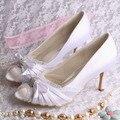 Wedopus Personalizado Handmade Peep Toe Sapatos De Noiva de Cetim Branco 8 CM Heel Bombas de Casamento Dropship