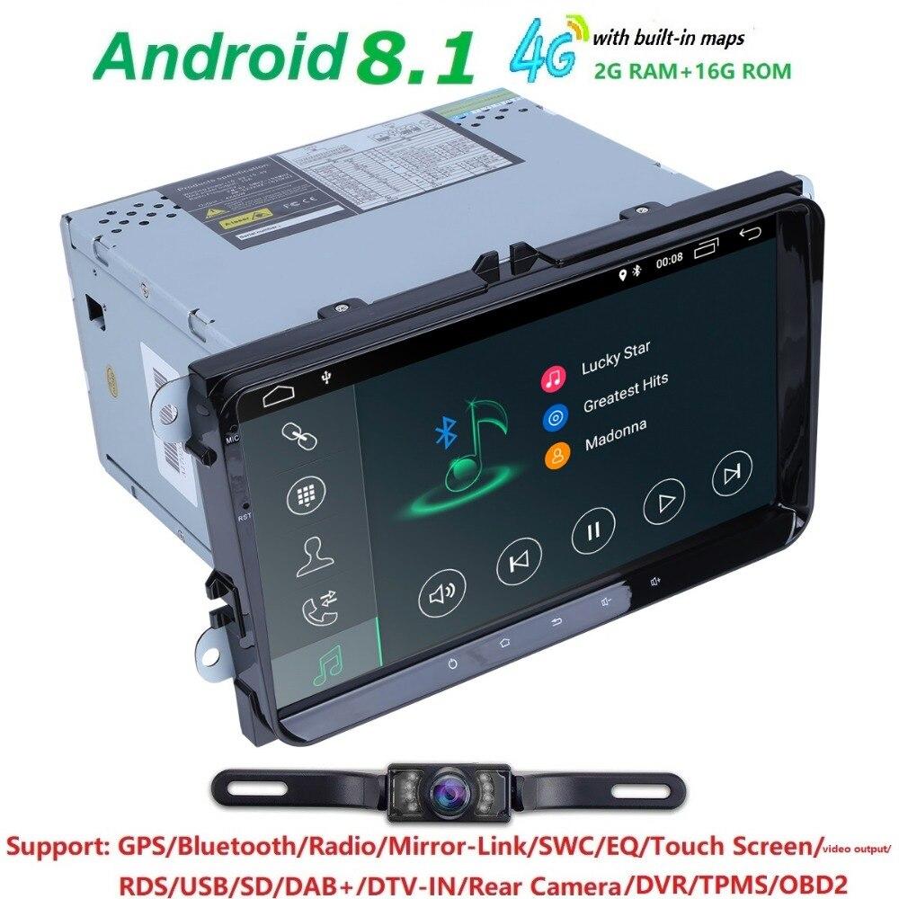2din9inch voiture noDVD radio Gps stéréo PC Android8.1 2G + 16G dans le tableau de bord pour v w B6 B5 B7 Passat Golf Polo J etta Eos Tiguan Skoda siège