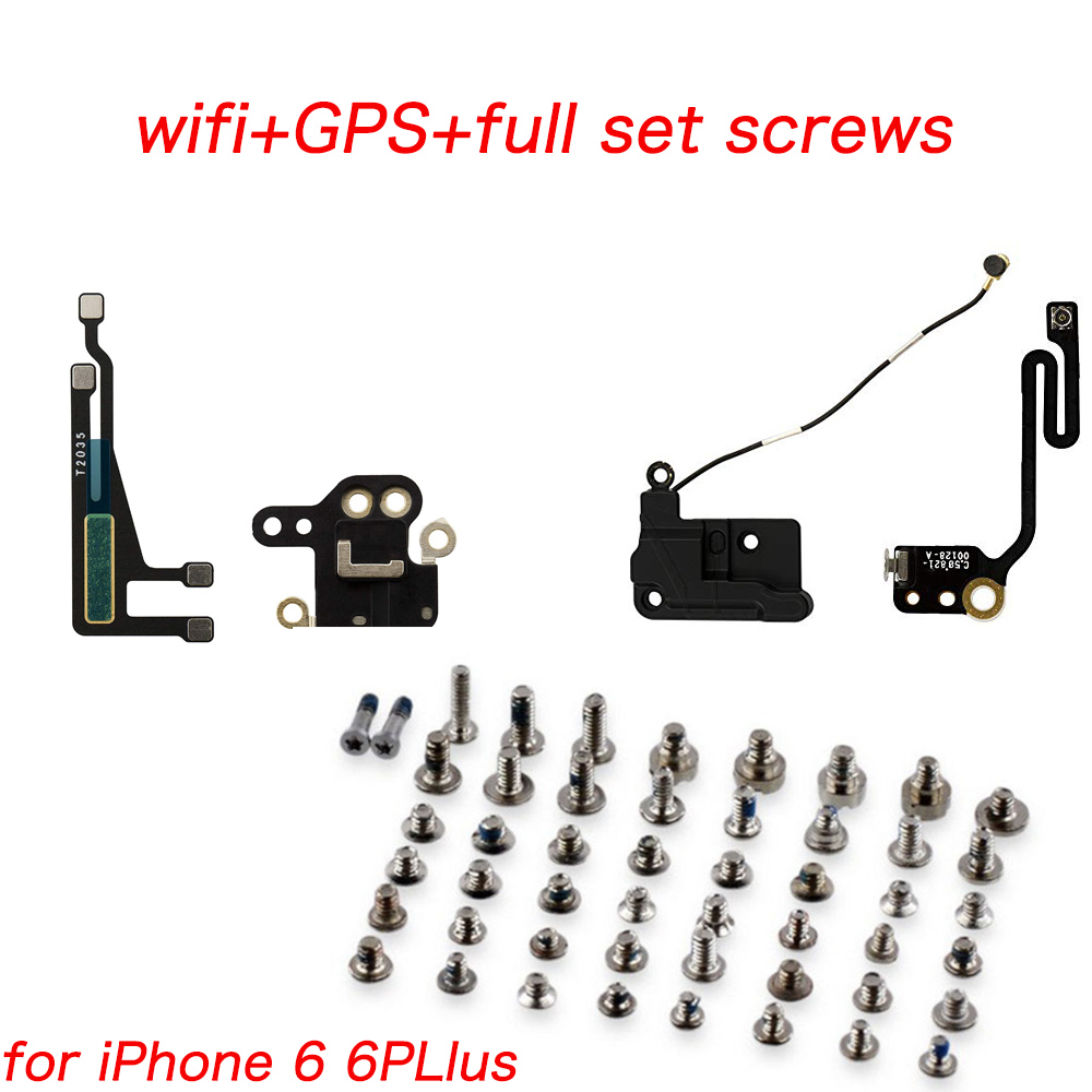 MHCAZT 2set/lot  For IPhone 6 6 Plus WiFi Antenna Signal Flex With GPS Cover Ribbon Replacement Parts+ Full Set Screws