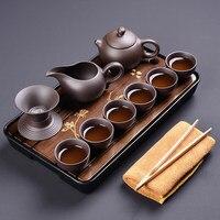 Chinese purple clay tea set family tea cup bowl ceramic kung fu tea set simple office solid wood small tea plate