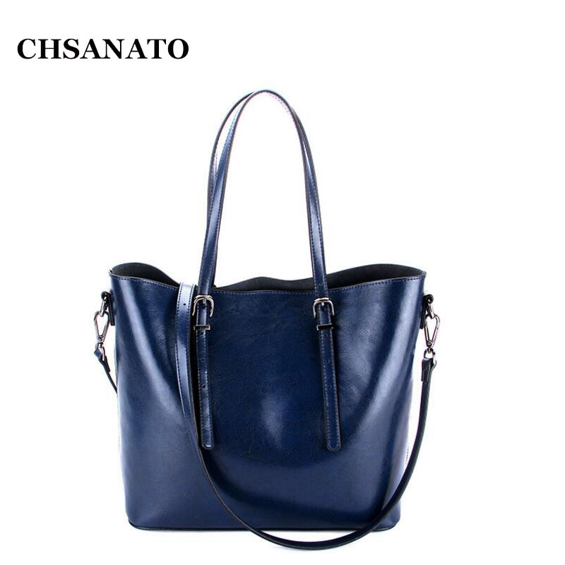 CHSANATO Oil Wax Cowhide Leather Female Handbag Large Women Shoulder Bag Daily OL Business Women Bag Tote Sac Ladies Purses woma engineering architecture education model urban engineering vehicles building blocks children toys compatible with legoe