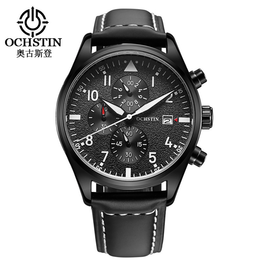 Pilot Mens Chronograph Wrist Watch Waterproof Auto Date Black Top Luxury Brand Leather Males Quartz Clock Frosted Dial NEW