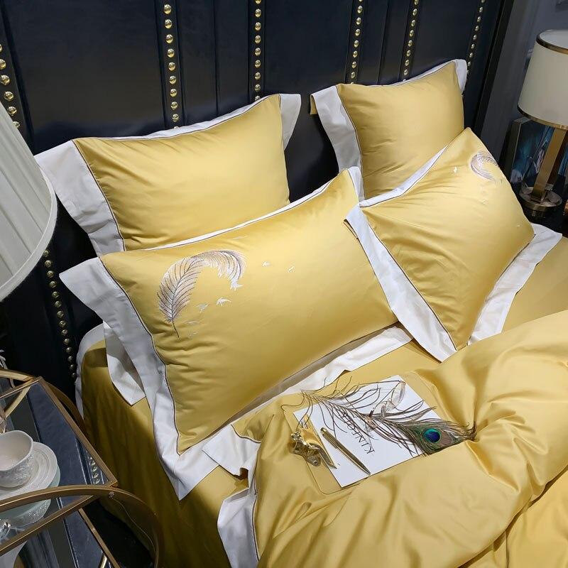600TC egipcio de algodón de Color sólido bordado de boda de lujo ropa de cama de Reina rey tamaño edredón funda de almohada sábana 4/6 piezas # s-in Juegos de ropa de cama from Hogar y Mascotas    3