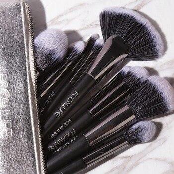FOCALLURE 10PCS Make-Up Pinsel Set Foundation Lidschatten Applikator Pulver Kosmetik Make-Up Pinsel Kit
