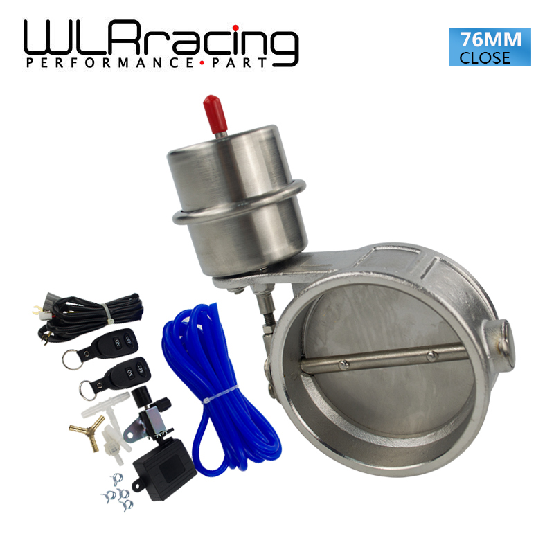 цена на WLRING STORE- Exhaust Control Valve With Vacuum Actuator Cutout 3 76mm Pipe CLOSED with ROD with Wireless Remote Controller Set