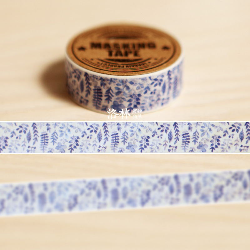 1.5 Cm Wide Blue Plant Paper Washi Tape Adhesive Tape DIY Scrapbooking Sticker Label Masking Tape