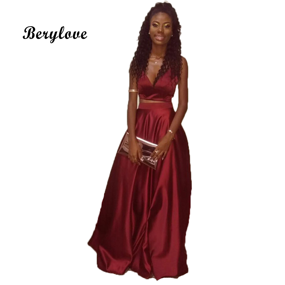 BeryLove Burgundy Two Piece Evening Dress 2018 Long Satin Evening ...