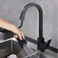 Black Pull Out Kitchen Faucet Solid Brass Swivel Square Spray Sink Mixer Tap Water tap Black crane