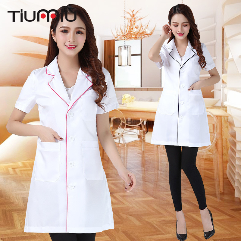 New Arrival Summer Hospital Doctor's Uniforms Lady Short Sleeve Medical Clothes Beauty Salon V-neck White Lab Coat Nurse Uniform
