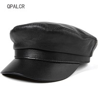 QPALCR Winter Women Military Hats Sheepskin Genuine Leather Cap Top Quality Flat Hat Baseball Caps Unisex Adult Sailor Army Hat