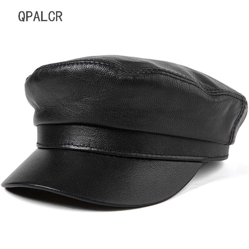 QPALCR hiver femmes militaires chapeaux en peau de mouton en cuir véritable casquette Top qualité chapeau plat casquettes de Baseball unisexe adulte marin armée chapeau