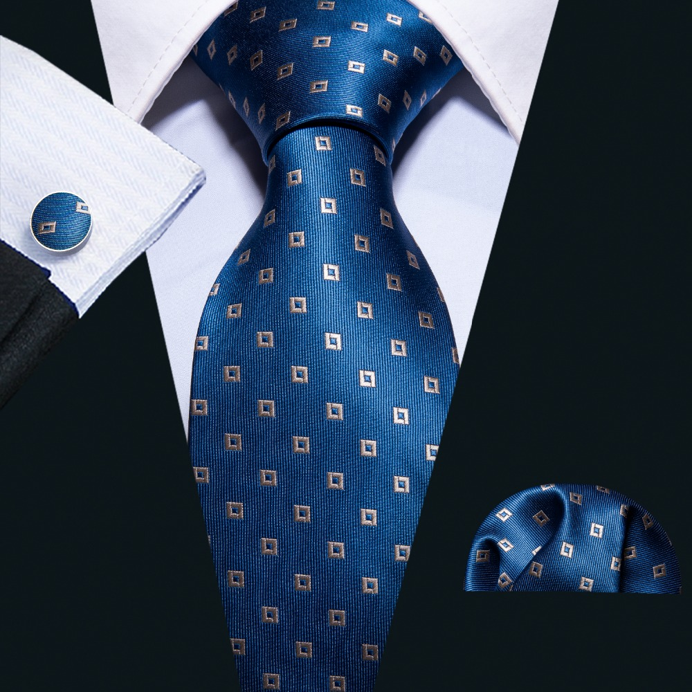 Sapphire Blue Geometric Pattern 100% Silk Men Tie Barry.Wang 8.5cm Woven Business Party Necktie Dropshipping Men Gift FA-5054
