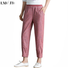 Купить с кэшбэком LXMSTH Women Linen Pants Elastic Waist Summer Vintage Casual Loose Harem Pants Ankle Length Woman Cotton Linen Trousers Big Size