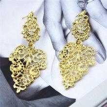Фотография Ufavoirte Summer New Fashion Alloy Golden Long Bohemian Pierced Hollow Drop Dangle Earrings Mix Color For Women Girl Gift